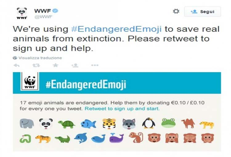 WWF recaba fondos para preservar especies animales a través de  emoticonos