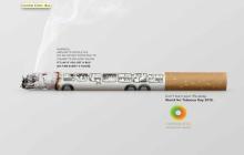 Un cigarro se transforma en un autobús incendiado para concientizar vs su consumo