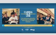 """Los niños de México y Estados Unidos se unen a través de la instalación épica """"la cuerda que une"""" en el festival SXSW 2017"""