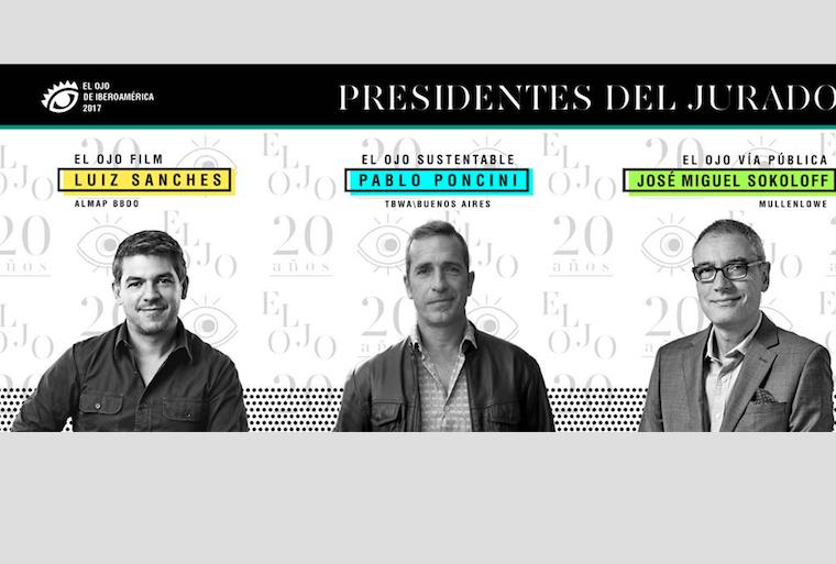 Luiz Sanches, Pablo Poncini y José Miguel Sokoloff  Presidentes del Jurado de El Ojo Film, El Ojo Sustentable y El Ojo Vía Pública 2017
